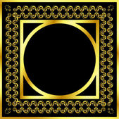 Gold pattern frame with waves and stars_6 — Stok Vektör