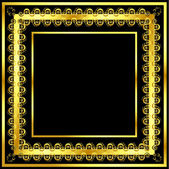 Gold pattern frame with waves and stars_8 — Stock vektor