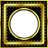 Gold pattern frame with waves and stars_16 — Vector de stock