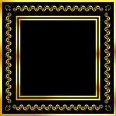 Gold pattern frame with waves and stars_14 — Stok Vektör