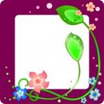 花と葉とライラック色春フレーム — ストックベクタ