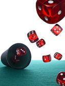 Dices and shaker — Stock Photo