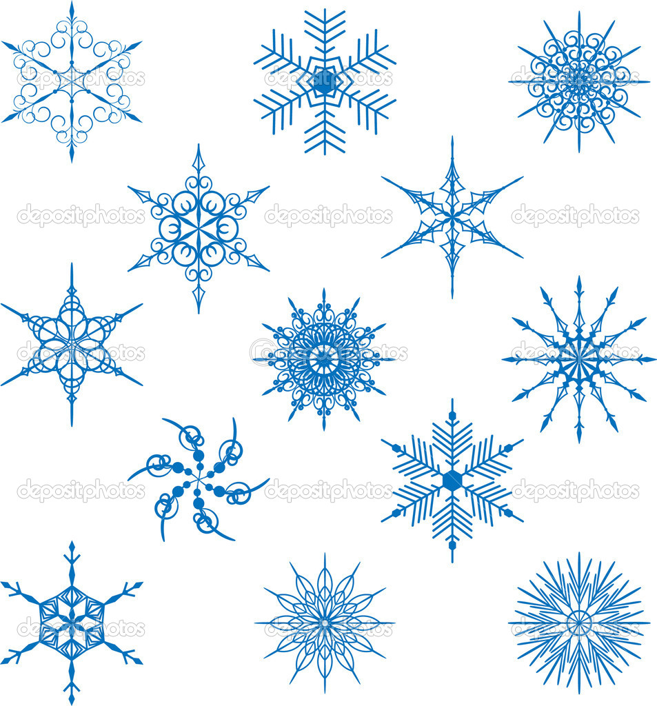 Blue snowflakes on a white background  Stock Vector #4014553