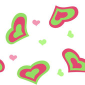 Pink and green hearts — Stock Vector
