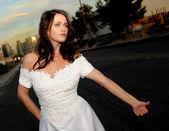 Bride Hitch Hiking — Stock Photo