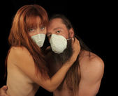 Lovers In a Pandemic — Stock Photo
