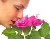 Belle femme à la rose — Photo