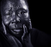 Grieving Black Woman — Stock Photo