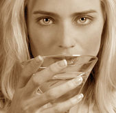 Woman with a Martini — Stock Photo