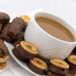 Coffee with chocolate biscuits - Stock Photo
