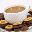 Coffee with chocolate biscuits - Stockfoto