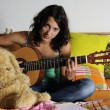 Teen playing guitar — Stock Photo