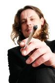Man smoking weed — Stock Photo