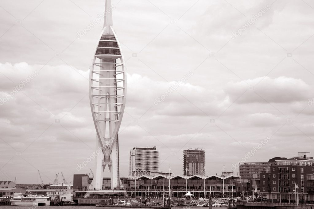 Spinnaker Tower, Portmouth in sepia black and white tone  — Stock Photo #3958903