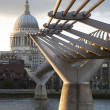 Milennium Bridge and St Pauls Cathedral, London — Stock Photo