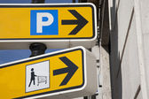 Shopping and Parking Sign — Stock Photo
