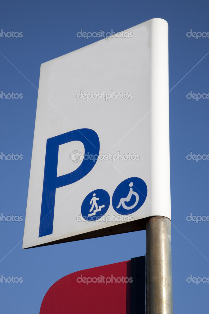 Parking Sign against Blue Sky Background  Stock Photo #4917296
