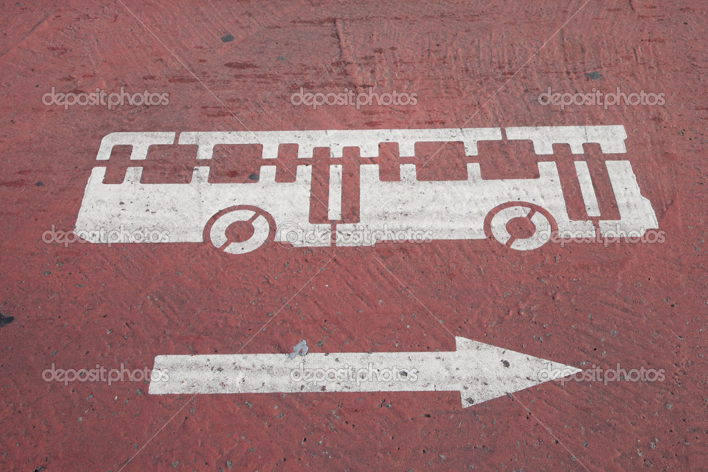 Bus Symbol Painted on Street — Stock Photo #4917665