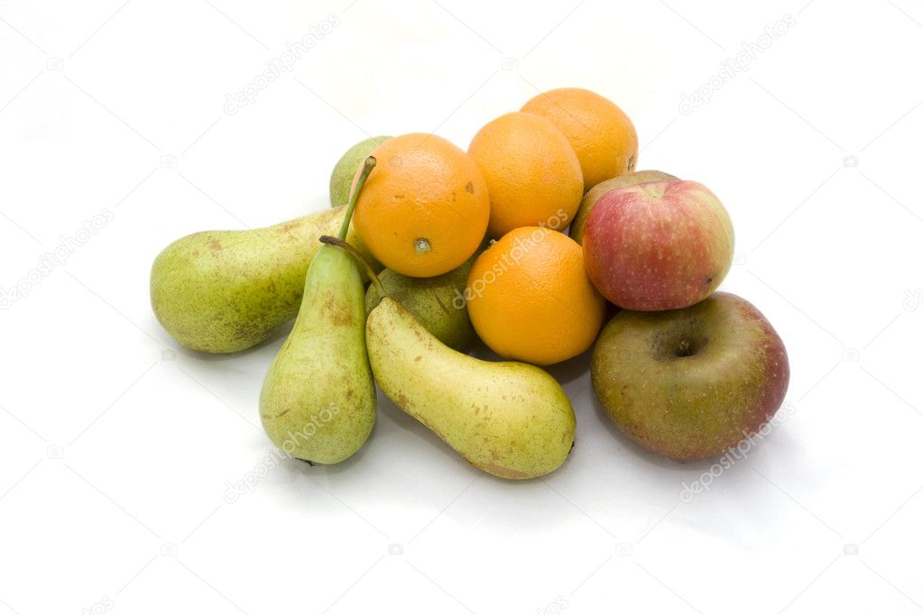 Apple, pear and orange on a white background.  Stock Photo #4140190
