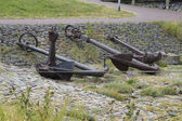 Several anchors — Stockfoto