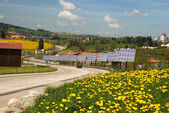 Solar cells along the roat to Le-Chaux-de-Fonds city — Stock Photo