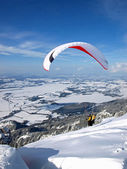 Paraglider starting of a slope — Stock Photo