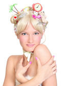 Beautiful blonde with a delightful hairstyle — Stock Photo