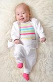 Joyful baby (girl 1,5 months ) — Stock Photo