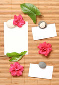 Advertising Notes with some flowers — Stock Photo