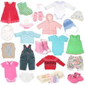 Different child`s clothes, shoes and accessories. — Stock Photo