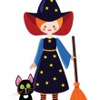 Stock Vector: Little witch with cat