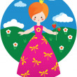 Little princess with strawberry - Stock Vector