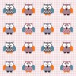 Stock Vector: Checked pattern with cute owls