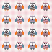 Checked pattern with cute owls — Stock Vector