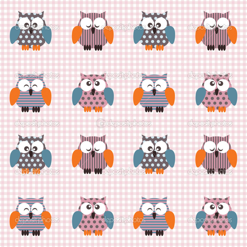 Vector seamless checked pink and white pattern with little cute owls  Stock Vector #4242439