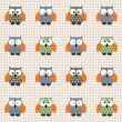 Stock Vector: Checked pattern with cute owls.