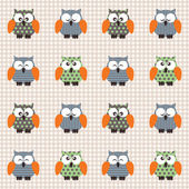 Checked pattern with cute owls. — Stock Vector