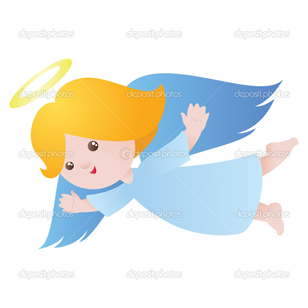 Little cute flying angel isolated on white. Vector illustration. — Stock Vector #4444205