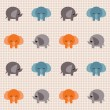 Stock Vector: Checked pattern with cute elephants