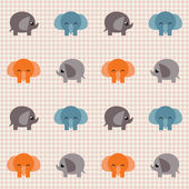Checked pattern with cute elephants — Stock Vector