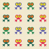 Checked pattern with funny frogs — Stock Vector