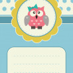Birthday card with baby-girl owlet — Stock Vector