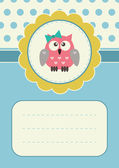 Birthday card with baby-girl owlet — Stock Vector