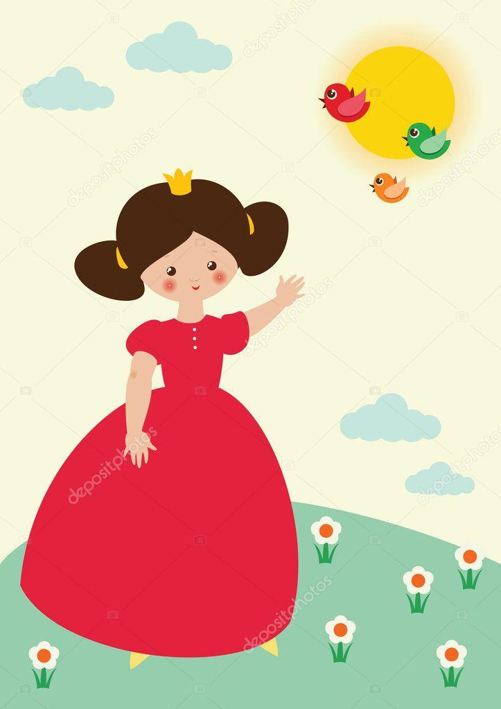 可爱的小公主穿着红色背景的春天草甸上