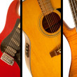 Guitars and bass guitars — Stock Photo