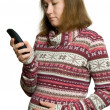 Pregnant womwith phone — Stock Photo #4970588