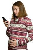 Gravid kvinna med telefonen — Stockfoto