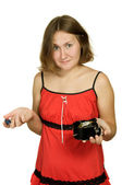 Astonished woman with broken clock — Stock Photo
