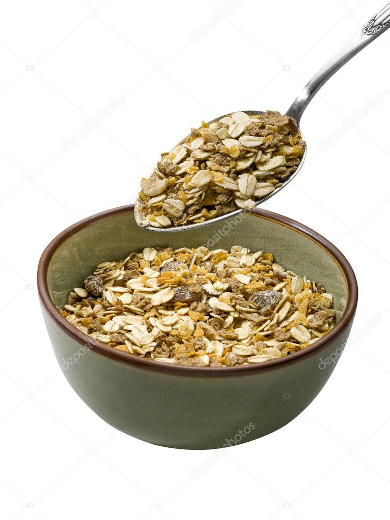 Bowl of muesli on white background — Stock Photo #4000421