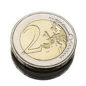 Two euro coin worn — Stock Photo